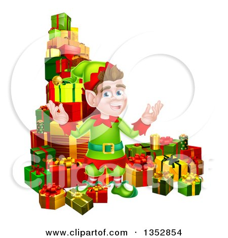 Clipart of a Brunette Caucasian Male Christmas Elf Surrounded with Gifts - Royalty Free Vector Illustration by AtStockIllustration
