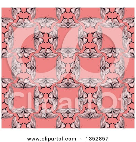Clipart of a Seamless Background Pattern of Vintage Butterflies Forming Squares over Pink - Royalty Free Vector Illustration by AtStockIllustration