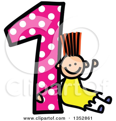 Clipart of a Doodled Toddler Art Sketched Orange Haired White Girl Waving and Sitting Against a Giant Pink Polka Dot Number One - Royalty Free Vector Illustration by Prawny