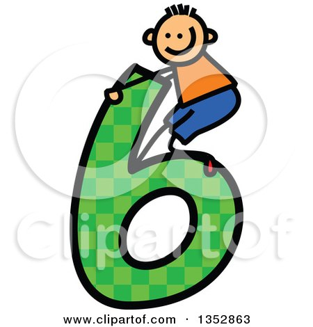 Clipart of a Doodled Toddler Art Sketched White Boy Playing on a Giant Green Checkered Patterned Number Six - Royalty Free Vector Illustration by Prawny