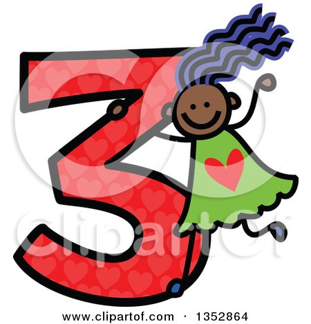 Clipart of a Doodled Toddler Art Sketched Purple Haired Black Girl Playing on a Giant Red Heart Patterned Number Three - Royalty Free Vector Illustration by Prawny