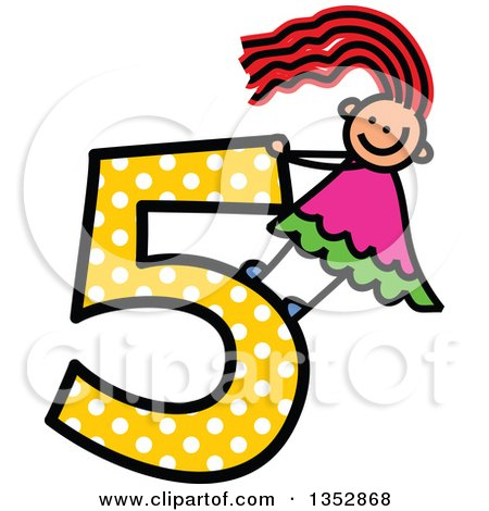 Clipart of a Doodled Toddler Art Sketched Red Haired White Girl on a Giant Yellow Polka Dot Number Five - Royalty Free Vector Illustration by Prawny