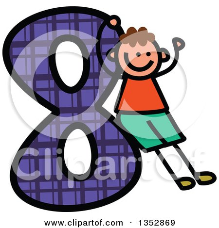 Clipart of a Doodled Toddler Art Sketched White Boy Cheering and Leaning on a Giant Purple Plaid Number Eight - Royalty Free Vector Illustration by Prawny