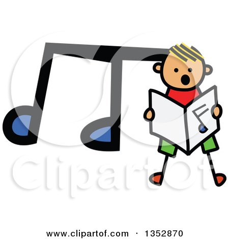 Clipart of a Doodled Toddler Art Sketched Yellow Haired White Boy Singing over a Big Music Note - Royalty Free Vector Illustration by Prawny