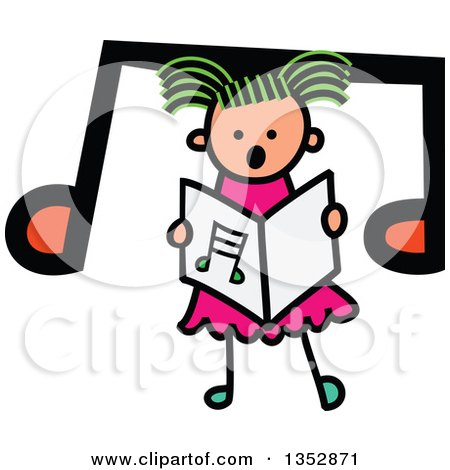 Clipart of a Doodled Toddler Art Sketched Greeb Haired White Girl Singing over a Big Music Note - Royalty Free Vector Illustration by Prawny
