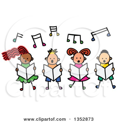 Clipart of a Doodled Toddler Art Sketched Group of Four Children Singing Under Music Notes - Royalty Free Vector Illustration by Prawny
