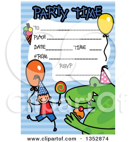 Clipart of a Doodled Toddler Art Sketched Birthday Party Invitation with a Happy Stick Boy, Dinosaur and Lines for Event Details over Blue Stripes - Royalty Free Vector Illustration by Prawny