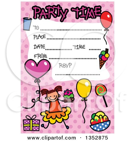 Clipart of a Doodled Toddler Art Sketched Birthday Party Invitation with a Happy Stick Girl and Lines for Event Details over Pink Polka Dots - Royalty Free Vector Illustration by Prawny