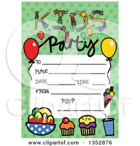 Clipart of a Doodled Toddler Art Sketched Birthday Party Invitation with Cupcakes, Kids and Lines for Event Details over Green Polka Dots - Royalty Free Vector Illustration by Prawny
