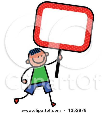 Clipart of a Doodled Toddler Art Sketched Blue Haired White Boy Holding an Orange Polka Dot Blank Sign - Royalty Free Vector Illustration by Prawny