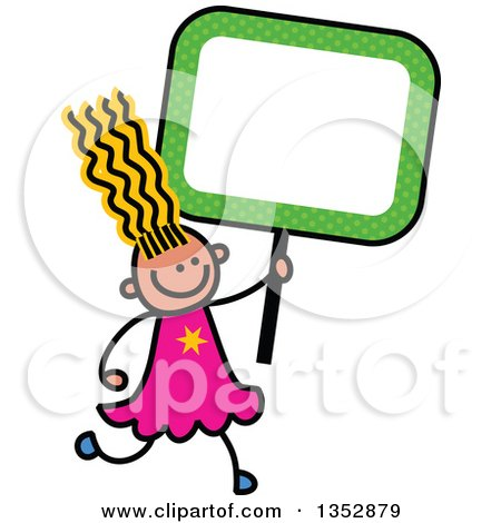 Clipart of a Doodled Toddler Art Sketched Yellow Haired White Girl Holding a Green Polka Dot Blank Sign - Royalty Free Vector Illustration by Prawny