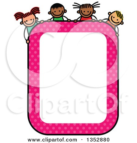 Clipart of a Doodled Toddler Art Sketched Pink Polka Dot Blank Sign with Children over It - Royalty Free Vector Illustration by Prawny