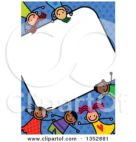 Clipart of a Doodled Toddler Art Sketched Blank Sign Surrounded by Happy Children over Blue Polka Dots - Royalty Free Vector Illustration by Prawny