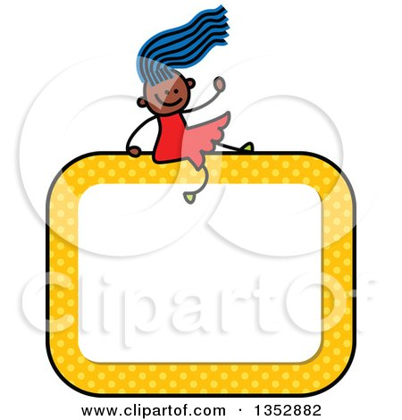 Clipart of a Doodled Toddler Art Sketched Blue Haired Black Girl Waving and Sitting on a Yellow Polka Dot Blank Sign - Royalty Free Vector Illustration by Prawny