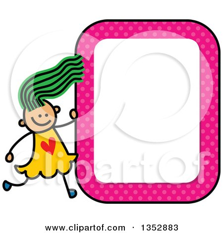 Clipart of a Doodled Toddler Art Sketched Green Haired White Girl with a Pink Polka Dot Blank Sign - Royalty Free Vector Illustration by Prawny