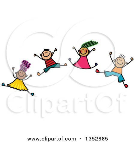 Doodled Toddler Art Sketched Group of Happy Children Jumping Joyously Posters, Art Prints