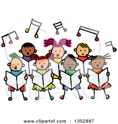 Clipart of a Doodled Toddler Art Sketched Group of Children Singing Under Music Notes - Royalty Free Vector Illustration by Prawny