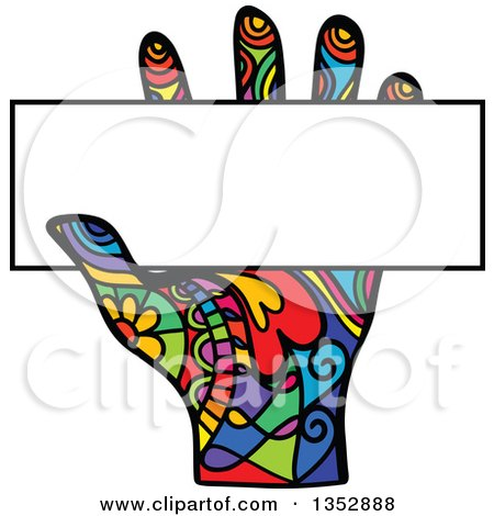 Clipart of a Colorful Patterned Folk Art Human Hand Holding a Blank Sign - Royalty Free Vector Illustration by Prawny