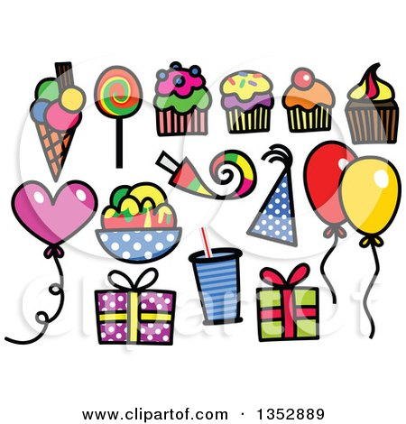 Clipart of Colorful Sketched Birthday Party Icons - Royalty Free Vector Illustration by Prawny
