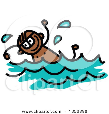 Clipart of a Doodled Toddler Art Sketched Black Boy Swimming - Royalty Free Vector Illustration by Prawny