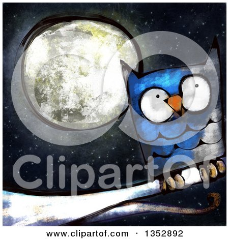 Painted Blue Owl Perched on a Branch Against a Full Moon Posters, Art Prints