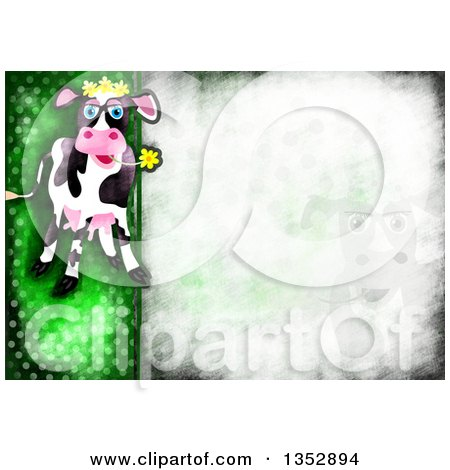 Clipart of a Background of a Happy Cow Chewing on a Flower over Distressed Green Polka Dots - Royalty Free Illustration by Prawny