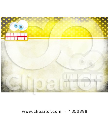 Clipart of a Background of Funny Faces over Yellow Distressed Polka Dots - Royalty Free Illustration by Prawny