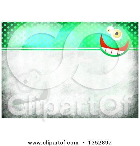 Clipart of a Background of Funny Faces over Gray and Green Distressed Polka Dots - Royalty Free Illustration by Prawny