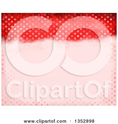 Clipart of a Background of Red Distressed Polka Dots - Royalty Free Illustration by Prawny
