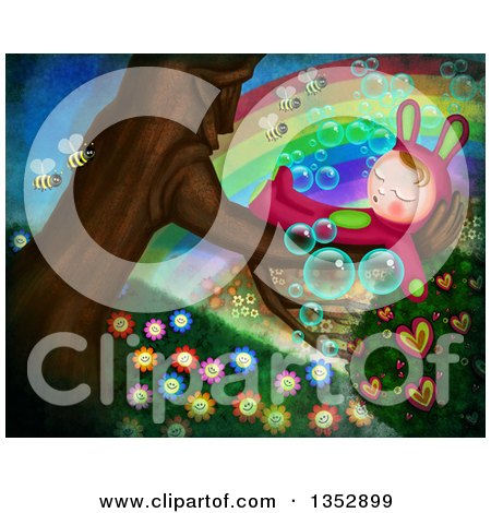 Clipart of a Child in a Bunny Costume, Sleeping in a Tree, with Bees, Flowers, Hearts, Bubbles and a Rainbow - Royalty Free Illustration by Prawny