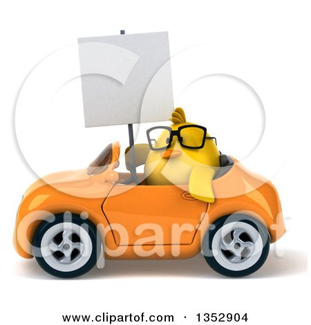 Clipart of a 3d Bespectacled Chubby Yellow Bird Chicken Holding a Blank Sign and Driving an Orange Convertible Car, on a White Background - Royalty Free Vector Illustration by Julos