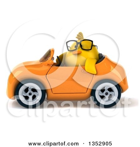 Clipart of a 3d Bespectacled Chubby Yellow Bird Chicken Driving an Orange Convertible Car, on a White Background - Royalty Free Vector Illustration by Julos