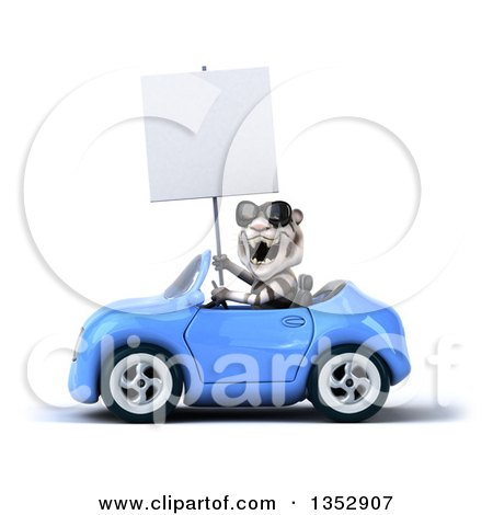 Clipart of a 3d White Tiger Wearing Sunglasses, Holding a Blank Sign and Driving a Blue Convertible Car, on a White Background - Royalty Free Vector Illustration by Julos