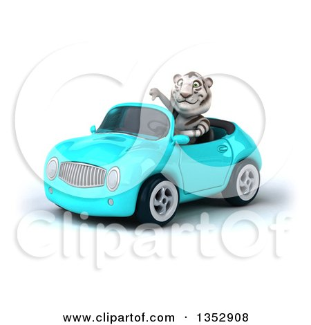 Clipart of a 3d White Tiger Giving a Thumb down and Driving a Light Blue Convertible Car, on a White Background - Royalty Free Vector Illustration by Julos