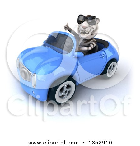 Clipart of a 3d White Tiger Wearing Sunglasses, Giving a Thumb up and Driving a Blue Convertible Car, on a White Background - Royalty Free Vector Illustration by Julos