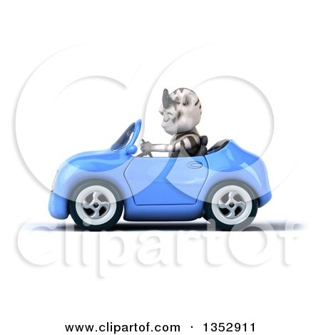 Clipart of a 3d White Tiger Wearing Sunglasses and Driving a Blue Convertible Car, on a White Background - Royalty Free Vector Illustration by Julos