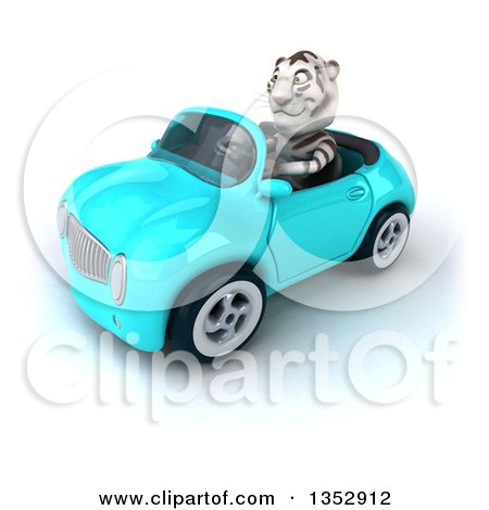 Clipart of a 3d White Tiger Driving a Light Blue Convertible Car, on a White Background - Royalty Free Vector Illustration by Julos