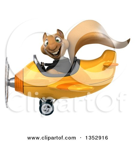 Clipart of a 3d Business Squirrel Aviatior Pilot Flying a Yellow Airplane, on a White Background - Royalty Free Vector Illustration by Julos