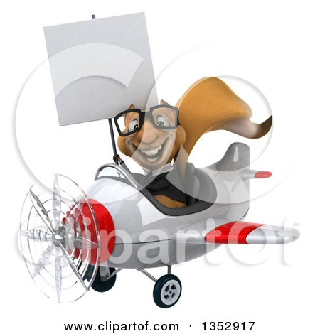 Clipart of a 3d Bespectacled Business Squirrel Aviatior Pilot Holding a Blank Sign and Flying a White and Red Airplane, on a White Background - Royalty Free Vector Illustration by Julos