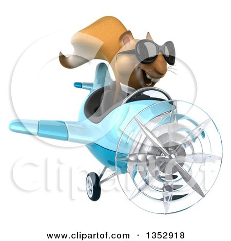 Clipart of a 3d Business Squirrel Aviatior Pilot Wearing Sunglasses and Flying a Blue Airplane, on a White Background - Royalty Free Vector Illustration by Julos