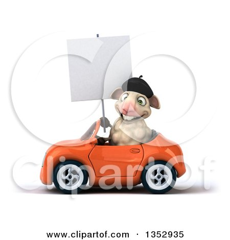 Clipart of a 3d French Sheep Holding a Blank Sign and Driving an Orange Convertible Car, on a White Background - Royalty Free Vector Illustration by Julos