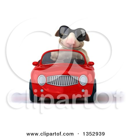 Clipart of a 3d Sheep Wearing Sunglasses and Driving a Red Convertible Car, on a White Background - Royalty Free Vector Illustration by Julos