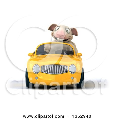 Clipart of a 3d Sheep Driving a Yellow Convertible Car, on a White Background - Royalty Free Vector Illustration by Julos