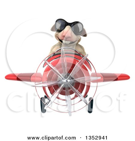 Clipart of a 3d Sheep Aviatior Pilot Wearing Sunglasses and Flying a Red Airplane, on a White Background - Royalty Free Vector Illustration by Julos