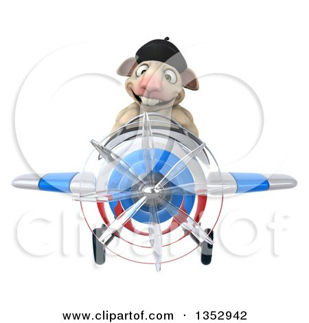 Clipart of a 3d French Sheep Aviatior Pilot Flying a White Blue and Red Airplane, on a White Background - Royalty Free Vector Illustration by Julos
