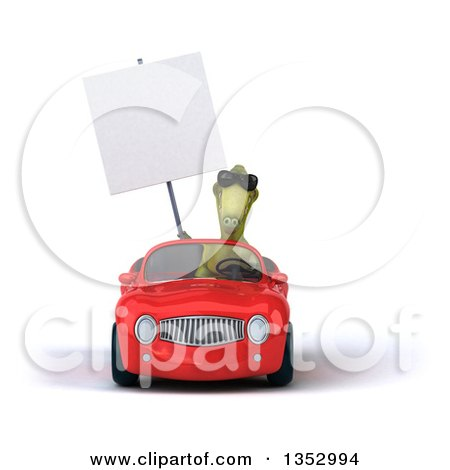 Clipart of a 3d Green Dinosaur Wearing Sunglasses, Holding a Blank Sign and Driving a Red Convertible Car, on a White Background - Royalty Free Vector Illustration by Julos