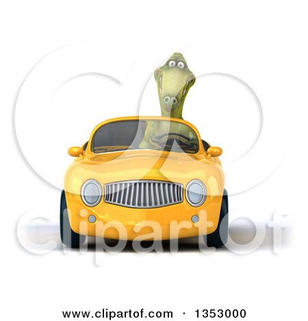 Clipart of a 3d Green Dinosaur Driving a Yellow Convertible Car, on a White Background - Royalty Free Vector Illustration by Julos