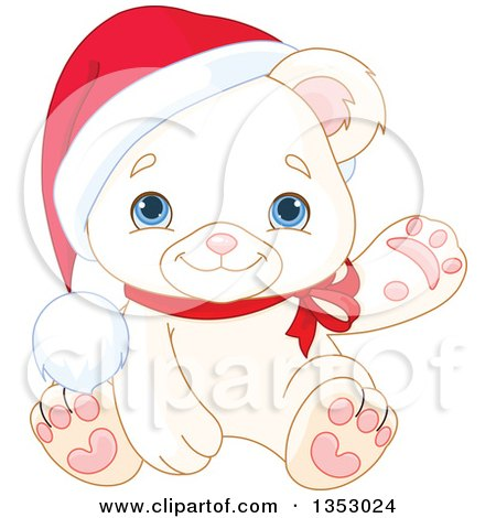 Clipart of a Cute Baby Polar Bear Cub Wearing a Christmas Santa Hat and Presenting or Waving - Royalty Free Vector Illustration by Pushkin