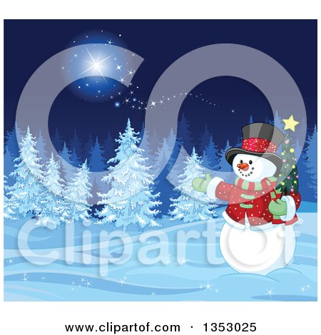 Clipart of a Christmas Snowman Holding a Small Tree and Presenting a Winter Forest at Night with Snow Flocked Evergreens and Magic - Royalty Free Vector Illustration by Pushkin