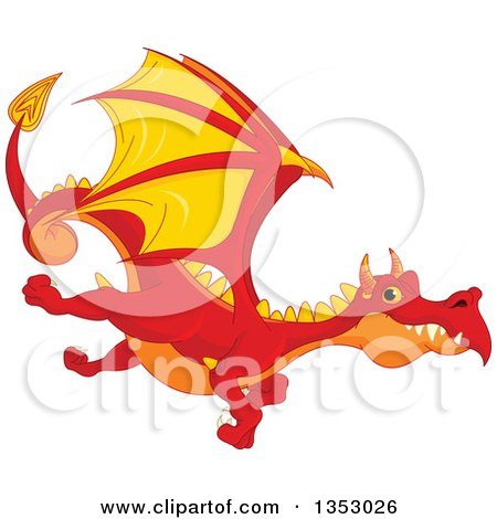 Clipart of a Cartoon Flying Red, Orange and Yellow Dragon - Royalty Free Vector Illustration by Pushkin
